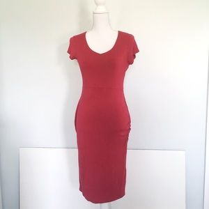 Loveappella Maternity Ruched Red Bodycon Dress